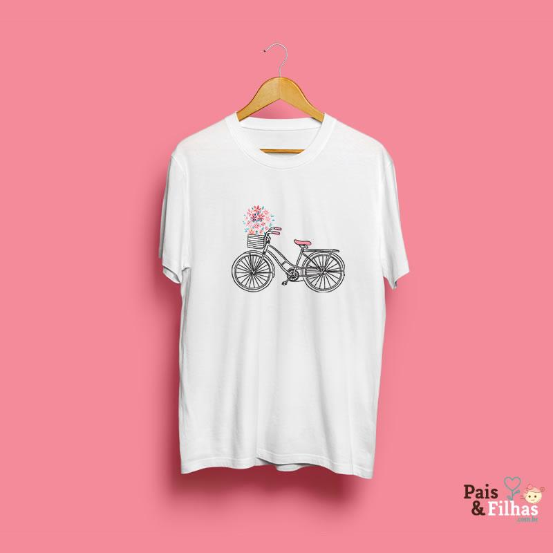 Camiseta Feminina Bike De Flores