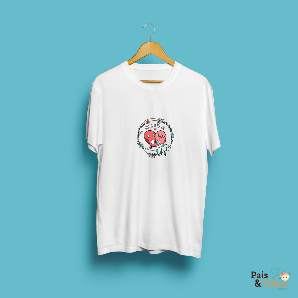 "Camiseta Em Poliéster Com Estampa Personalizada ""Love Is In The Air"""