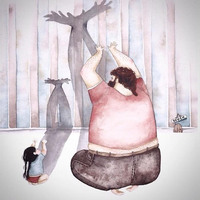 Ilustradora Ucraniana Retrata O Amor Especial Entre Pai E Filha De Maneira Tocante 06
