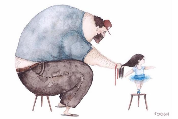 Ilustradora Ucraniana Retrata O Amor Especial Entre Pai E Filha De Maneira Tocante 14
